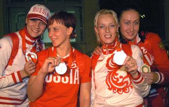 Ирина Близнова, Екатерина Маренникова, Мария Сидорова и Людмила Постнова - вице-чемпионки Олимпиады-2008